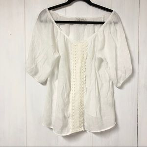Tops - Boho White Short Sleeve Peasant Top w Cream Lace